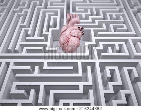 Human Heart Organ In The Labyrinth Maze