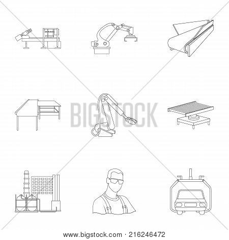 Automotive industry and other  icon in outline style.Automated production systems icons in set collection.