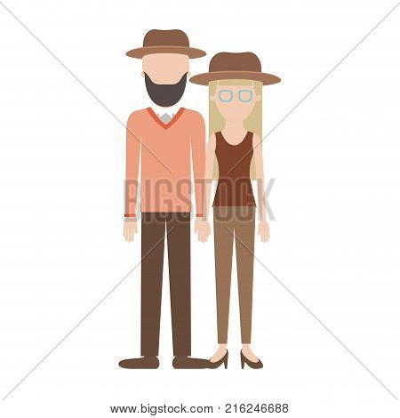 faceless couple colorful silhouette and both with hat and him with beard and sweater and pants and shoes and her with glasses t-shirt sleeveless and pants and heel shoes with long straight hair vector illustration