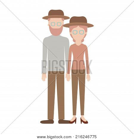 faceless couple colorful silhouette and both with hat and glasses and him with beard and shirt and pants and shoes and her with blouse long sleeve and pants and heel shoes with collected hair vector illustration