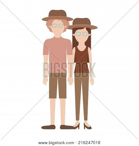 faceless couple colorful silhouette and both with hat and glasses and him with shirt and short pants and shoes and curly hair and her with blouse and pants and heel shoes with long straight hair vector illustration