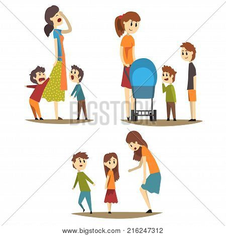 Cartoon set of mother in different situations: tired housewife and loudly screaming sons, young mom with baby carriage and two boys next to her, woman scolding little girl. Flat vector illustration.
