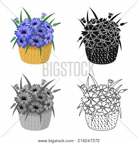 A bouquet of fresh flowers single icon in cartoon, black, monochrome, outline style for design. Bouquet vector symbol stock illustration .