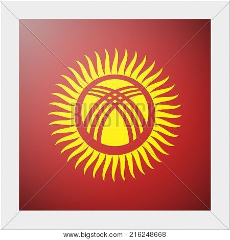 Asian country flag collection with photo of Kyrgyzstan flag , vector , illustration
