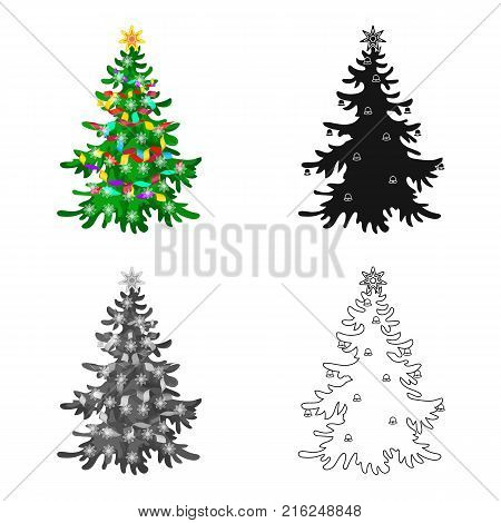 Christmas tree single icon in cartoon, black, flat, monochrome style for design. Christmas vector symbol stock illustration .