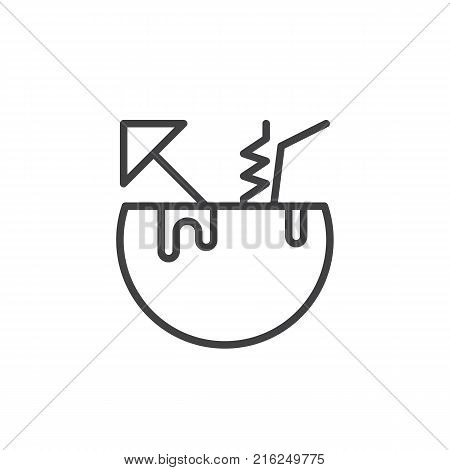 Coconut cocktail line icon, outline vector sign, linear style pictogram isolated on white. Exotic tropical cocktail with umbrella and straw symbol, logo illustration. Editable stroke
