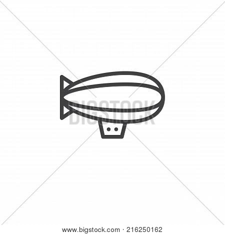 Airship zeppelin line icon, outline vector sign, linear style pictogram isolated on white. Dirigible balloon symbol, logo illustration. Editable stroke
