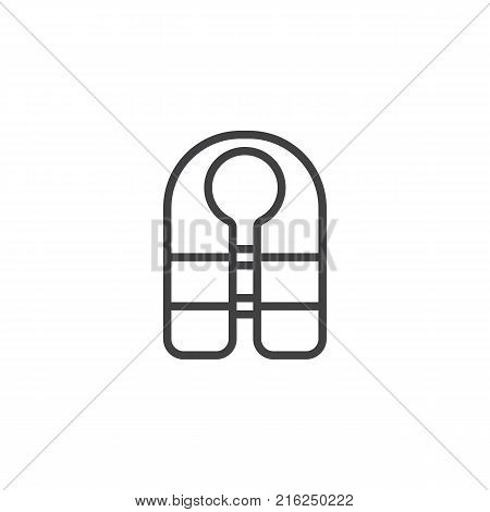 Life jacket line icon, outline vector sign, linear style pictogram isolated on white. Guard vest symbol, logo illustration. Editable stroke