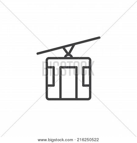 Cable car line icon, outline vector sign, linear style pictogram isolated on white. cableway symbol, logo illustration. Editable stroke