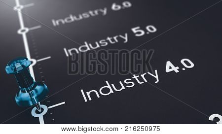 3D illustration of black paper with the text industry 4.0 5.0 and 6.0 and a blue pushpin. Concept of futures industrial revolutions.