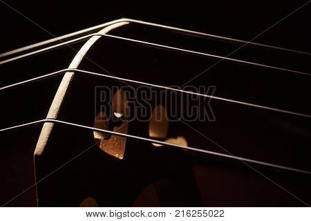 Closeup view of an old dusty cello accentuated shapes with light.