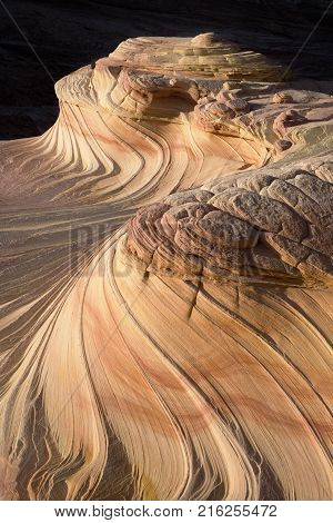 • Upper / Second Wave sandstone rock formation located in Arizona United of America near its northern border with Utah. The formation is situated on the slopes of the North Coyote Buttes in the Paria Canyon-Vermilion Cliffs Wilderness of the Colorado Plat