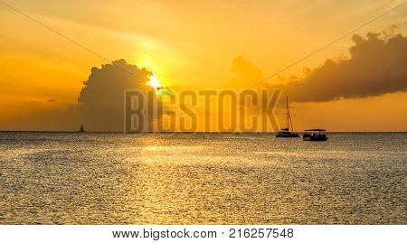 Sunset over the Caribbean Sea, Grand Cayman, Cayman Islands