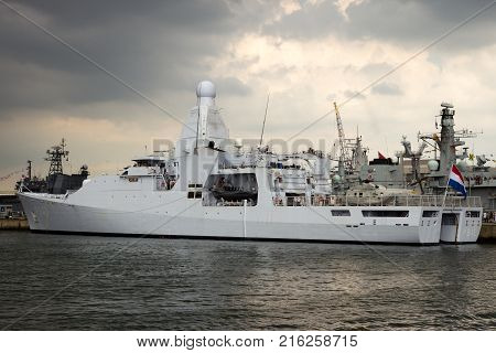 DEN HELDER THE NETHERLANDS - JUL 7 2012: New Dutch Navy patrol ship HRMS Holland moored during the Dutch Navy Days.