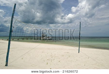 Volleyball Net At Beach