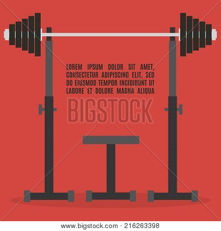 Sports equipment item. Barbell bench press element design for gym. Flat style vector illustration.