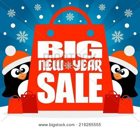 New Year Big sale background with two penguins .Vector illustration
