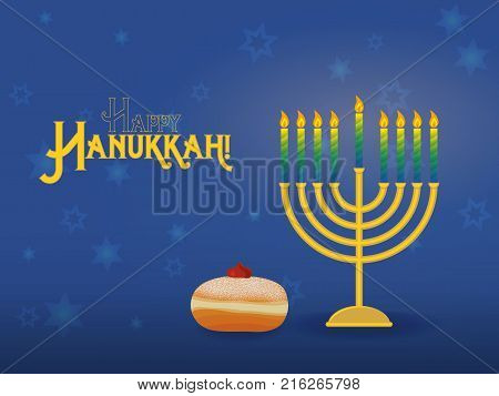 Greeting card for jewish holiday of Hanukkah. Hanukkah menorah, traditional candle holder for nine candles, with sufganiyah and inscription - Happy Hanukkah. Vector illustration