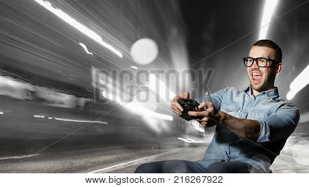 Gamer guy with joystick