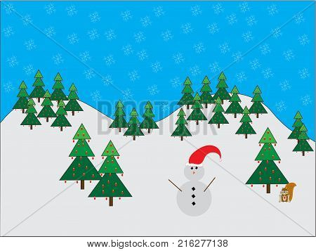 Illustrated snowman and squirrel with Christmas decorations in snowy pine forest field with blue skies and snowflakes.