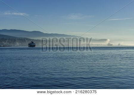 Burrard Inlet In The Fog - Vancouver, Bc Canada