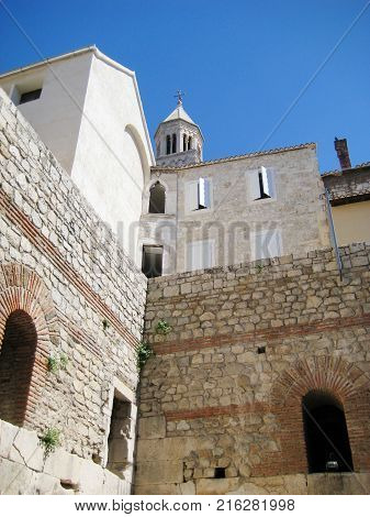 Diocletian's Palace in Old Town of Split, Croatia. Inside View from Peristyle Central Square Within the Palace. Historical Ancient Castle Built in 4th Century AD for the Roman Emperor Diocletian.