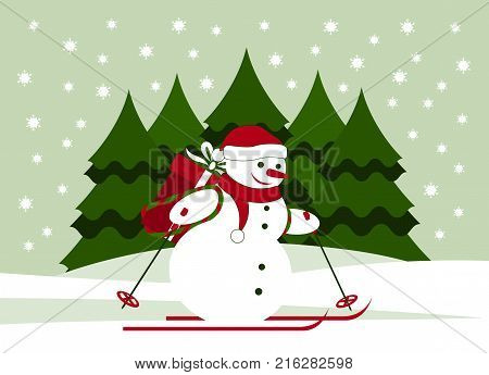vector snowman skier carrying big gift in snowy landscape