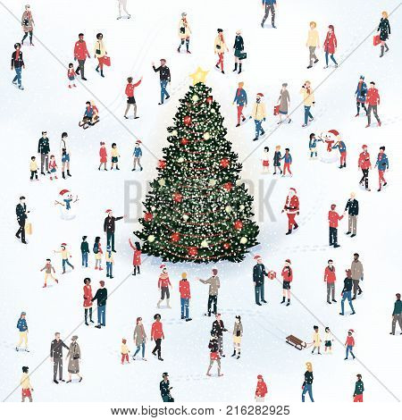 Crowd of people gathering around the Christmas tree under the snow and celebrating together Christmas card