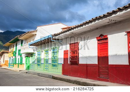 Colorful Houses In Colonial City Jardin, Antoquia, Colombia, South America
