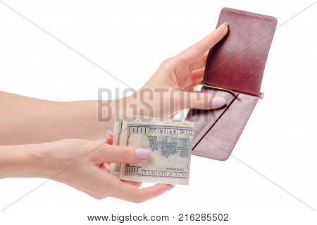 Money dollar clip for money purse in hand on white background isolation