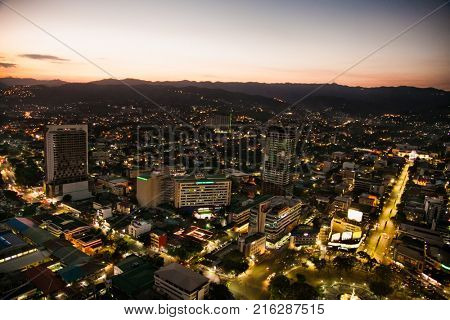CEBU CITY, PHILIPPINES-MARCH 25, 2016: Panoramic view of Cebu city in sunset on March 25, 2016, Philippines. It is the Philippines's second most significant metropolitan center and main domestic port