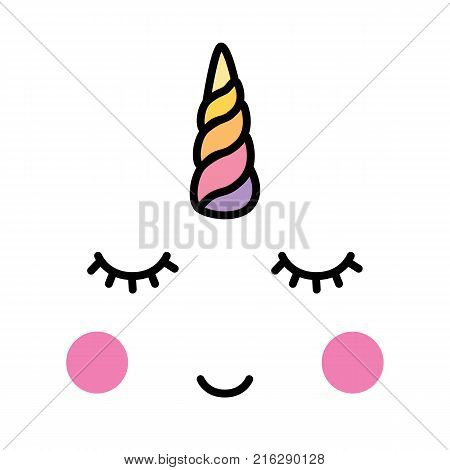 Unicorn minimalistic face horn cute sleeping vector
