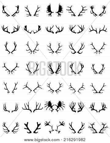 Black silhouettes of deer horns  on a white background