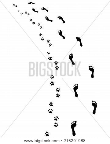 Footprints of bare feet and paws dog, turn left