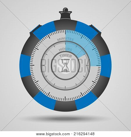 Vector timer with two circles. Timer minutes and hours for the application.
