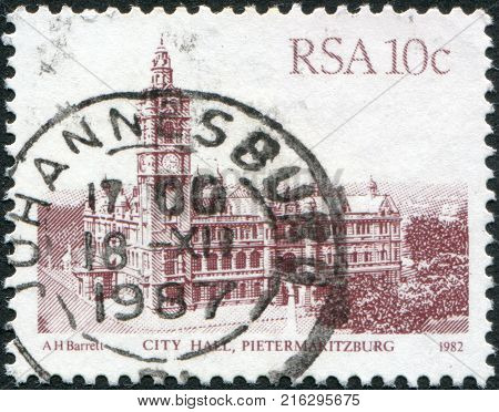 SOUTH AFRICA - CIRCA 1983: A stamp printed in South Africa (RSA), shows the City Hall, Pietermaritzburg, circa 1983