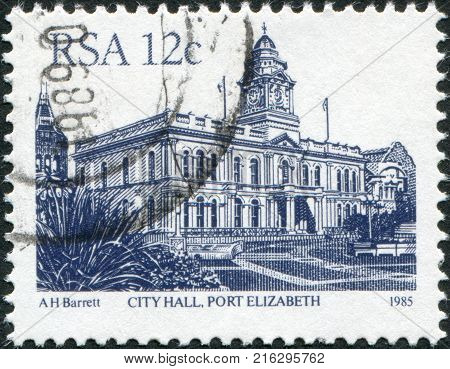 SOUTH AFRICA - CIRCA 1985: A stamp printed in South Africa (RSA), shows the City Hall, Port Elizabeth, circa 1985