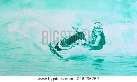 Watercolor painting of Jet ski Competitor  cornering at speed