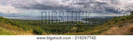 Panorama From Mt Battie in Camden Maine - passing storm