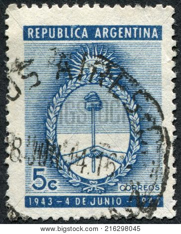 ARGENTINA - CIRCA 1944: A stamp printed in the Argentina, dedicated to the first anniversary military putsch, shows coat of arms, circa 1944