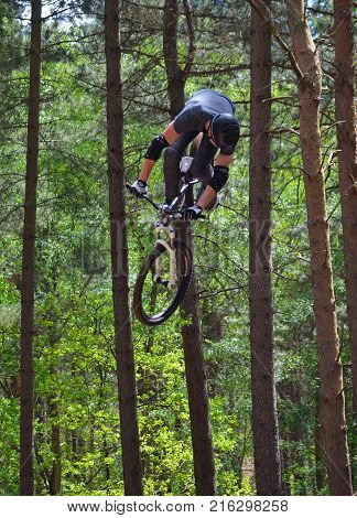 HAYNES, BEDFORDSHIRE, ENGLAND - MAY 14, 2017:  Freestyle  Stunt Cyclist in mid air with trees in background.