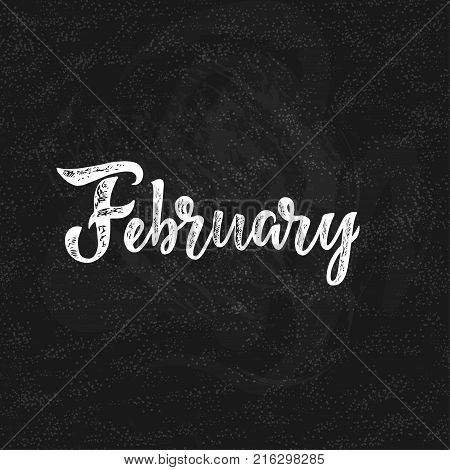 Handwritten names of months: February. Calligraphy words for calendars and organizers. Vector