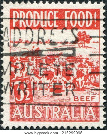 AUSTRALIA - CIRCA 1953: A stamp printed in Australia, is devoted to food production, is depicted Beef, circa 1953
