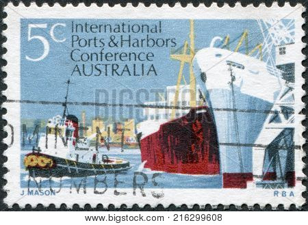 AUSTRALIA - CIRCA 1969: A stamp printed in Australia, is dedicated to 6th Biennial Conference of the International Association of Ports and Harbors, Melbourne, shows Melbourne Harbor Scene, circa 1969