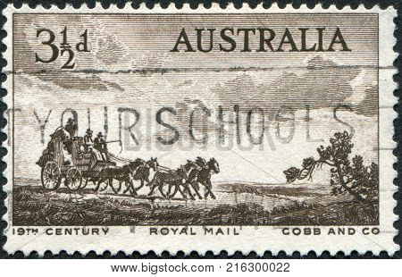 AUSTRALIA - CIRCA 1955: A stamp printed in Australia, is devoted to Pioneers of Australia's coaching era, depicted Cobb and Company Mail Coach, circa 1955
