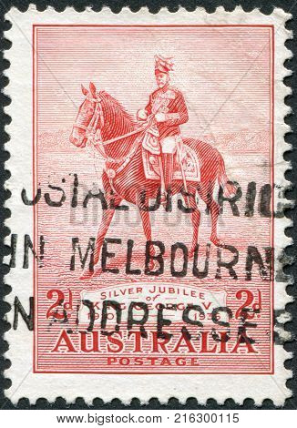 AUSTRALIA-CIRCA 1935: A stamp printed in Australia, dedicated to 25th anniversary of the coronation, shows George V on His Charger