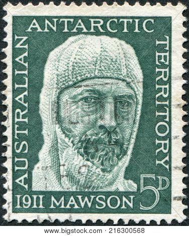 AUSTRALIA (ANTARCTIC TERRITORY) - CIRCA 1961: A stamp printed in Australia (Antarctic Territory), dedicated to 50th anniversary of the Antarctic expedition, shows Sir Douglas Mawson, circa 1961
