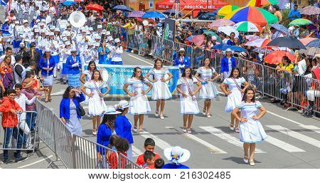 boquete panama November 2017 These majorettes are dancing in traditional costumes at the parade of Panama Independence Day to celebrate the liberation of Spanish