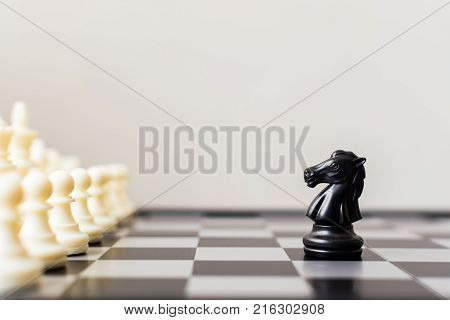 Business leader and confrontation solve problems concept Chess board game with copy space for your text