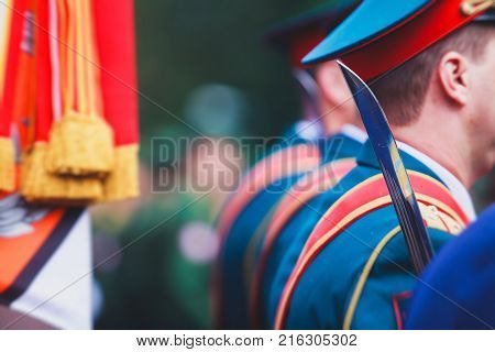 A Formation Line Of Russian Army Officers With Flags, Banners And Orchestra In Military Formation In